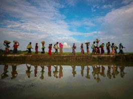 The photography staff of Reuters has won the Pulitzer Prize in Feature Photography for their coverage of the Rohingya migrant crisis between Myanmar and Bangladesh. Rohingya refugees are reflected in rain water along an embankment next to paddy fields after fleeing from Myanmar into Palang Khali, near Cox's Bazar, Bangladesh November 2, 2017.