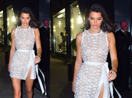 Model-reality TV star Kendall Jenner flashed almost everything as she wore a completely see-through outfit for an outing here. The model, 22, confidently strutted into a Tiffany & Co party on Thursday night in a sheer white and silver dress that also featured a daring thigh split. As well as showing off plenty of her long and lean legs, Kendall's bare cleavage was also clearly visible under the see-through fabric.