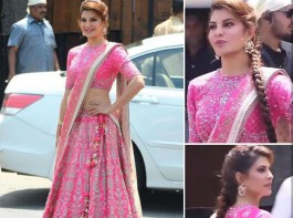 Jacqueline Fernandez has been omnipresent the last week, courtesy Race 3 and her best friend Sonam Kapoor's wedding. Like any girl pal, Jacqueline wrapped her work commitments with co-star Salman Khan and made it in time for pre nuptials and wedding ceremonies of Sonam Kapoor. After touching down to Mumbai after a snow clad schedule of Race 3 in Sonamarg, Jacqueline was out and about the city in a orcher yellow separates and mint blue shrug as she wrapped her dubbing for Race 3 and dashed into the Kapoor residence for dance practices. Starting from her Mehendi ceremony outfit till the reception the actress made heads turns with whatever she wore. 1) She stunned everyone yet again wearing a pink color lehenga at her Best friend Sonam Kapoor's wedding. Jacqueline Fernandez looked like a princess as she adorned hot pink lehenga set. The pink Anita Dongre lehenga had elaborate motifs on it and paired it with a complimenting dupatta. The actress accessorized her look with a pair of gold and pearl chandbali-inspired earrings and a Kundan handcuff.