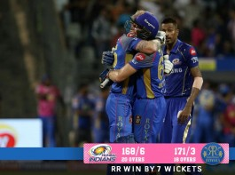 English batsman Jos Buttler continued his red-hot form with a 94 not out as Rajasthan Royals thumped Mumbai Indians by seven wickets here on Sunday to boost their chance of qualifying for the Indian Premier League (IPL) play-offs. After Mumbai posted 168/6, thanks to opening batsmen Suryakumar Yadav (60) and Evin Lewis, Buttler registered his fifth consecutive fifty, which contained five sixes and nine fours, to guide his team to seven-wicket victory with two overs to spare. The loss left three-time champions Mumbai stranded at 10 points from 12 games, while Rajasthan took their tally to 12 after 12 games. The Jaipur-based outfit needs to win its remaining two games to qualify for the play-offs, while Mumbai's fate is not in their hands and will have to depend on the performances of other teams.