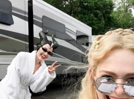 Actress Angelina Jolie made her Instagram debut when she photobombed actress Elle Fanning on the set of her new film