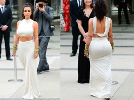 American TV star Kim Kardashian flaunts her hourglass figure in a cream crop top and long skirt during CFDA Fashion Awards 2018 at Brooklyn Museum in New York. The 37-year-old star said after winning the CFDA's Influencer Award: