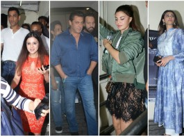 Bollywood movie Race 3 witness a bucket full of stars at the special screening which held last evening in Mumbai. The makers held a screening of Race 3 for close friends and family members in the city. From Left to right Dhoni, Salman Khan, Jacqueline Fernandez and Daisy Shah graced the event. Check out the above slideshow to see the photos of celebs like Sakshi Dhoni, Remo D'Souza, Huma Qureshi, Anil Kapoor, Sohail Khan with son Yohan Khan and wife Seema Khan, Seema Khan, Saqib Saleem, Ramesh Taurani, Sajid Nadiadwala, Nirvaan Khan, Kumar Taurani, Girish Kumar, Freddy Daruwala, David Dhawan, Bobby Deol, Arhaan Khan, Ali Abbas Zafar and others who were also seen at the special screening.