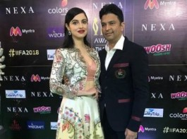 Bhushan Kumar made an entry with his wife Divya Khosla Kumar. Dressed in a black suit and white shirt Bhushan Kumar kept it casual, while Divya Kumar looked stylish in a two-piece gown. Bhushan Kumar's T-Series has been enjoying a golden run at the box office with back to back successes in the last two years. Out of the four films minting over 100 crores this quarter, the producer has two films to his credit with 'Sonu Ke Titu Ki Sweety' and 'Raid'. While 2017 has been touted as one of the worst years of Bollywood, T-Series witnessed two successful films Hindi Medium and Tumhari Sulu.