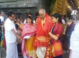 Ahead of the release of her first film, 'Dhadak', Jahnvi Kapoor, along with father Boney Kapoor and sister Khushi Kapoor, headed to Tirumala Tirupati temple to offer prayers on Sunday. The 21-year-old, who is all set to make her Bollywood debut with the Shashank Khaitan-directorial, paid a visit to Tirupati to seek the blessings of Lord Venkateswara. The actor is currently busy with the promotions of the film, which is all set to hit the big screens on July 20. An official adaptation of 'Sairat', 'Dhadak' also stars Ishaan Khatter in the lead role.