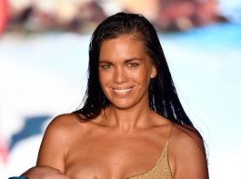 Model Mara Martin turned heads at the Sports Illustrated swimsuit fashion show on Sunday, when she walked the ramp while breastfeeding her five-month-old infant. The 35-year-old took the concept of 'Take Your Kids to Work Day' to a whole new level and the Twitterverse can't stop talking about it. Twitterers showered their support for the model on the micro-blogging site.