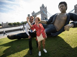 Giant shirtless Jeff Goldblum statue in London