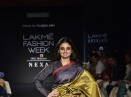 Rasika Duggal walks the ramp for Gunjan Jain