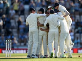 England spinner Moeen Ali is congratulated by team mates