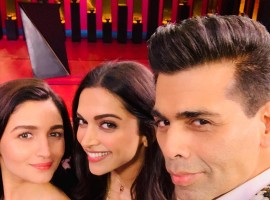 Deepika Padukone and Alia Bhatt with Karan Johar