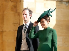 Pippa Middleton flaunts baby bump at Princess Eugenie's royal wedding