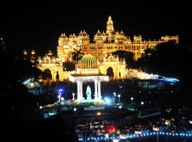Mysore palace lit up with thousands of lights for Dussehra celebrations