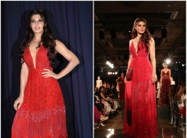 Jacqueline Fernandez walks the ramp for Monica and Karishma