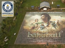 SS Rajamouli's 'Baahubali' large poster created in Kochi becomes the world's largest poster of 4,793.65 m² and breaks Guinness World Record