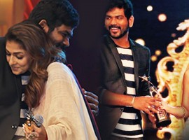 South Indian actress Nayanthara hugs Vignesh Shivan and receives SIIMA awardss.