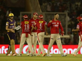Kings XI Punjab stayed in contention in the race for playoffs with an upset victory over the second-placed Kolkata Knight Riders even as its top batsman Chris Lynn's 52-ball 84 went up in smoke in an Indian Premier League (IPL) game here on Tuesday. Punjab now have 12 points from the same number of matches and play Mumbai Indians and Rising Pune Supergiant away. KKR, on the other hand, remained second despite the defeat with 16 points from 13 outings. They have already made the knockout stages. Lynn struck eight fours and three sixes but wickets fell around him as the men in purple failed to gun down a par target of 168 set by the hosts batting first at the IS Bindra Stadium here. Rahul Tewatia (2/18) and Mohit Sharma (2/24) were the best bowlers for Punjab with the latter bowling a fantastic penultimate over leaking just nine runs and taking the wicket of out-of-form Yusuf Pathan (2).