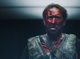 Actor Nicolas Cage is covered in blood in Panos Cosmatos' Mandy. Andrea Riseborough and Linus Roache also star in the film.