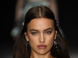 Irina Shayk walks the runway at Bottega Veneta Fall/Winter 2018 Collection at the American Stock Exchange.