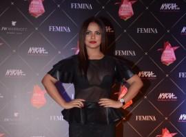Neetu Chandra poses for the cameras on her arrival at the Nykaa Femina Beauty Awards 2018, held at JW Marriott Hotel in Mumbai.