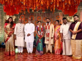 Rajinikanth at Keerthana and Akshay's wedding ceremony in Chennai.