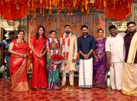 Jyothika and Suriya at Keerthana and Akshay's wedding ceremony in Chennai.