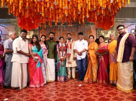 K. Bhagyaraj, Shanthanu and Keerthi at Keerthana and Akshay wedding.