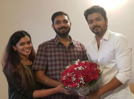 Actor Vijay visits Parthiban's newly-married daughter Keerthana and Akshay.