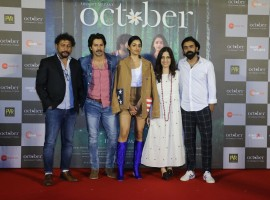 Varun Dhawan and Banita Sandhu pose with Shoojit Sircar, Juhi Chaturvedi and Ronnie Lahiri during October trailer launch.