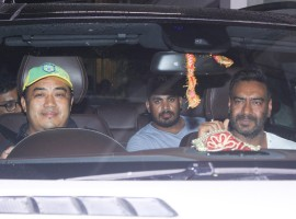 Ajay Devgn attends the special screening of Raid held at Sunny Super Sound in Mumbai.