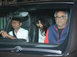 Boney Kapoor along with his daughters, Khushi and Janhvi were seen at Arjun Kapoor's home.