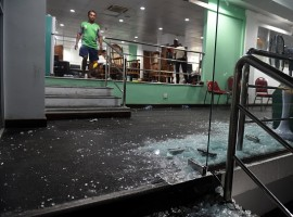 A picture taken on March 16, 2018 shows damages after celebrations by the Bangladesh cricket team pavilion after scoring the winning run to defeat Sri Lanka by 2 wickets during the sixth Twenty20.