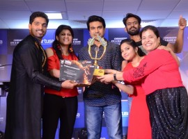 Mega powerstar Ram Charan Teja attend Josh Fantasy Season 4 at Virtusa IT Company in Hyderabad.