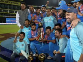 Wicketkeeper batsman Dinesh Karthik (29 runs off eight balls) played a brilliant cameo towards the end as India beat Bangladesh by four wickets in the final of the Nidahas Trophy T20 tri-series at the R.Premadasa Stadium here on Sunday.