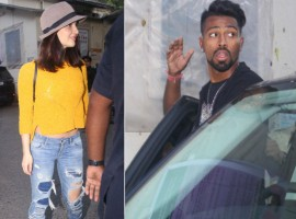 Indian cricketer Hardik Pandya and Bollywood actress Elli Avram spotted at Filmistan studio.