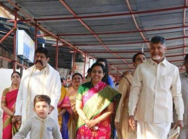 Nandamuri Balakrishna and Chandrababu Naidu celebrate grandson Devansh's birthday in Tirumala.