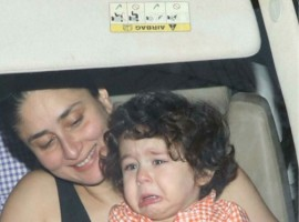 Photographers caught a glimpse of a crying Taimur Ali Khan while returning from Amrita Arora's residence.
