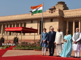 German President Frank-Walter Steinmeier was accorded a ceremonial welcome at the Rashtrapati Bhavan on Saturday in the presence of his Indian counterpart Ram Nath Kovind and Prime Minister Narendra Modi.