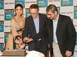 Actress Shilpa Shetty with Sony Pictures Networks India Executive Vice President and Business Head Tushar Shah and British television producer Michael Mosley during first anniversary celebrations of Sony BBC Earth in Mumbai on March 26, 2018.