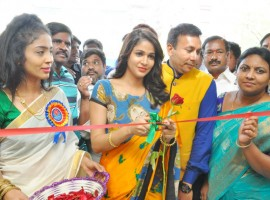 South Indian actress Lavanya Tripathi launches Arihant Fashion World at AS Rao Nagar in Hyderabad on 5th April 2018.