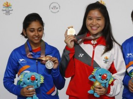 Indian shooters Mehuli Ghosh and Apurvi Chandela bagged silver and bronze respectively in the women's 10m Air Rifle event at the 21st Commonwealth Games here on Monday.