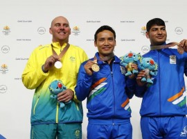 India's star shooter Jitu Rai won gold with a masterful performance in the men's 10m Air Pistol event at the 21st Commonwealth Games here on Monday. Jitu created a new CWG record of 235.1 in the final to win the gold. Kerry Bell of Australia took silver with 233.5.