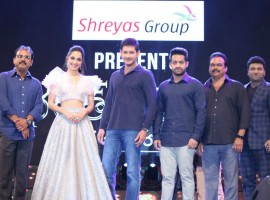 Telugu movie Bharat Ane Nenu pre-release event event held at LB Stadium, Hyderabad. Celebs like Mahesh Babu, Jr NTR, Kiara Advani, Devi Sri Prasad, Prakash Raj, DVV Danayya, Y Ravi Shankar, Naveen Yerneni, Lakshman, Suma and others graced the event.