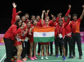 India's mixed badminton team put up a commanding show to clinch its maiden gold medal, defeating three-time defending champions Malaysia 3-1 in the final of the event at the 21st Commonwealth Games (CWG) here on Monday. Kidambi Srikanth, Saina Nehwal and the mixed doubles pair of Satwiksairaj Rankireddy and Ashwini Ponnappa all won a match each to guide India power past Lee Chong Wei-spearheaded Malaysia which was winning gold since the 2006 CWG.