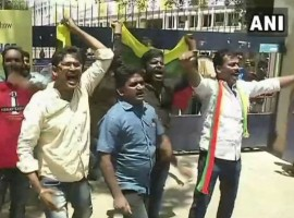 Tamil Nadu: Members of Tamizhaga Vazhvurimai Katchi (TVK) protest outside MA Chidambaram Stadium (Chepauk Stadium) in Chennai against IPL 2018 over  Cauvery Management Board issue.