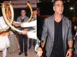 Bollywood actor Akshay Kumar poses for photographers on his arrival at the Lokmat Maharashtrian of the Year Awards 2018 in Mumbai on April 10, 2018.