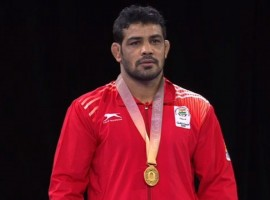 Veteran Indian star Sushil Kumar won gold in the men's 74 kilogram category in the men's wrestling competition at the 21st Commonwealth Games (CWG) here on Thursday.