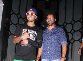 Ranveer Singh and filmmaker Kabir Khan get clicked during Gaurav Kapoor's birthday party held at The Korner House in Mumbai.