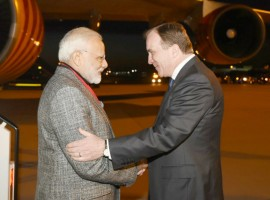 Indian Prime Minister Narendra Modi arrived here on Monday evening to a warm welcome on the first leg of his three-nation tour of Europe that will also see him going to Britain and Germany. Breaking protocol, Swedish Prime Minister Stefan Lofven received Modi at the airport here with a warm handshake. This is the first prime ministerial visit from India to Sweden in 30 years after the visit of Rajiv Gandhi in 1988. On Tuesday, Modi will hold a bilateral summit with Lofven following which a number of agreements are expected to be signed.