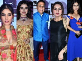 Beti Flo GR8 Awards 2018 held at JW Marriott Hotel in Mumbai on April 16, 2018. From Left to right Karishma Sharma, Pia Bajpai, Sunil Gavaskar, Huma Qureshi, Bhumi Pednekar graced the event. Check out the above slideshow to see the photos of celebs like Amit Sadh, Amruta Fadnavis, Jeetendra, Rashami Desai, Bhagyashree, Shabana Azmi, Roop Kumar Rathod, Tina Datta and others who were also seen in super stylish avatars.