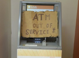 An ATM that ran out of service amid reports of a cash crunch and empty ATMs, in Bhopal on April 17, 2018. Currency shortage was reported in Andhra Pradesh, Telangana and Madhya Pradesh in the past few weeks. There were also complaints of shortage in parts of Maharashtra, Gujarat and Bihar.